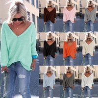 Wholesale Womens Long Sweaters Xl - Sexy Autumn Winter Womens V-neck Long Sleeve Knitted Sweater Casual Loose Tops Blouse Hoody