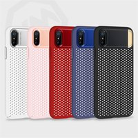 Wholesale Iphone Metal Mesh Case - For iphone x Case JOYROOM Electroplating Mesh Heat Radiaing Hard PC Back Cover with Metal Kickstand Cell Phone Case For Iphone X