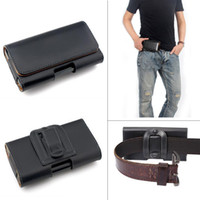 Wholesale Cell Holster Belt - Leather Waist Hang Case Mobile Phone Cover Belt Holster Clip Pouch Sleeve for 4.5 5.5 5 inch all Cell Phone