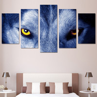 Wholesale Eyes Mm - 5 Panels HD Printed Wolf Eyes Group Painting Canvas Print room decor print poster picture canvas