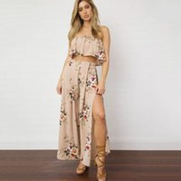 Wholesale Flounce Off - New Arrival Western Style Wholesale Summer and The Wind Female Leisure Suit Loose Off Shoulder Flounces Waisted Wide Pants Two Pieces