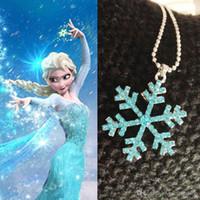 Wholesale Cheap Silver Figaro Chains - Frozen Elsa Snowflake Necklace Pendant Rhinestone Crystal Snow Flower Pendant Necklace Chains Women Kids Jewelry Blue Wholesale Cheap