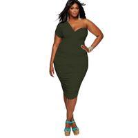 ingrosso abiti sexy per donne grasse-Off spalla vestito sexy donne grasse persone vestiti oversize per la vendita calda femminile tinta unita fasciatura vestito estensibile LMT-031
