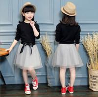 vestidos pretos grandes saias venda por atacado-2017 crianças primavera conjunto de roupas de manga longa preta T-shirt + saias de malha 2 pcs set meninas roupas grande vestido da menina roupa da menina ZJ17-3