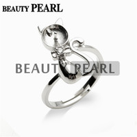 Wholesale 925 Rings For Girl - 5 Pieces Lovely Cat Ring Findings 925 Sterling Silver DIY Jewelry Pearl Mount for Girls Gift