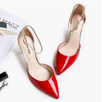 Wholesale Sandals 7cm Heel - Latest Style Women Shoes Lady Fashion Sandals Genuine Leather Cowhide 7cm High Heels 3 Colors Sexy Design Free Shipping
