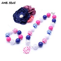 Wholesale July Party - MHS.SUN 4th July Design Necklace&Bracelet Headband 3PCS Set Birthday Party Gift Toddlers Girls Bubblegum Baby Kid Chunky Necklace Jewelry