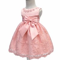 Wholesale Newborn Christening Gowns - Toddler Party Girls Christening Dresses Children Sleeveless Baptism Ball Gown with Big Bow Baby Kids Newborn Dresses Vestido
