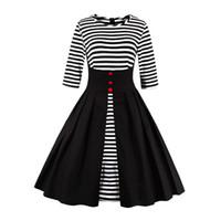 Wholesale Plus Size Dresses Zebra - 2018 Summer 1335 Retro Vestido Patchwork Zebra Stripe Button 1950s Vintage Swing Casual Women Maxi Wrap Dress Evening Party Plus Size
