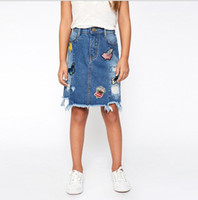 Wholesale Wholesale Lycra Skirt - Teenager Denim Skirts Junior Fashion Hallow Out Dress Big Baby Girl Cartoon Casual Skirts 2017 kids clothing
