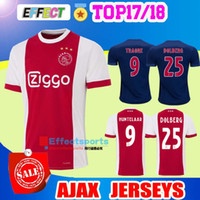 Wholesale Soccer Jersey Customized Yellow - New Ajax Home Soccer Jerseys 2018 Ajax FC Red Away Blue 2017 Camisa KLAASSEN FISCHEA DOLBERG 17 18 Football Shirts Customized uniform