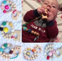 Wholesale Wood Elephant Toy - Infant teether newborn teething organic wood toy owl elephant fish bird wooden bracelet baby mon kids wood teether heart R0420