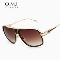 Wholesale Trend Glasses Styles - High Quality 18K Gold Plated Square Brad Pitt Style Men Sunglasses 2017 Trends Flat Top Brand Grandmaster Sun Glasses OM129