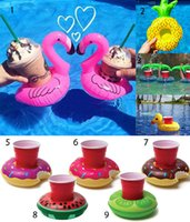 Wholesale Inflatable Yellow Duck - Inflatable Flamingo PVC Cup Holder Duck Watermelon Lemon Donut Coconut Tree Bottler Holder Floating Pool Bathing Party