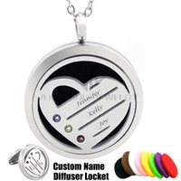 Wholesale Names Perfumes - Chain as gift! 30mm Custom Birthstone Heart with Engraved Name Stainless Steel Diffuser Locket Essential Oils Perfume Personalize Necklace
