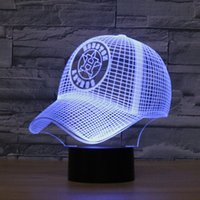 Wholesale Baseball Caps Led Lights - Free Shipping 7 colors changing MLB Baseball Team Houston Astros Decor Night Light Acrylic Baseball Cap Illusion Desk Lamp for Bedroom