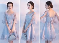 Wholesale Stocking Sexy Nudes - 2018 Short A-line Evening Dresses Short Lace Sheer Sleeves Bodice Cheap Stock Homecoming Prom Dress Silver Red Purple Bridesmaid Dress