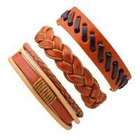 пользовательские плетеные кожаные браслеты оптовых-Мода смешанный стиль 3шт/набор пользовательских кожаные плетеные браслеты из натуральной кожи регулируемый браслет многослойные браслеты в БУ LB029