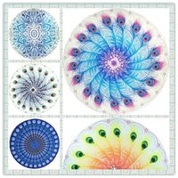 Wholesale Navy Throws - Wholesale 26 Designs Round Beach Towel Mandala Tapestries Cotton Boho SPA Wraps Bikini Cover up Beachwear Bath Throw Shawl Rugs Tablecloths