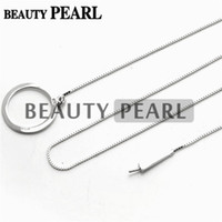 Wholesale Wholesale Silver Pendant Blanks - 5 Pieces Sterling 925 Silver Box Chain Circle Pendant Mounting Necklace Jewellery Necklace Blank Settings for Pearls