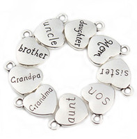 Wholesale handmade floats for sale - Group buy 100pcs Mixed Antique Silver letter Love Heart Beads Metal Charms Words Handmade Floating Charm Pendant for Jewelry Making mm
