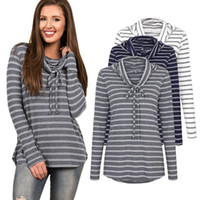 Wholesale Cowl Blouses - Ladies Autumn Casual Fashion Striped Long Sleeved Cowl Neck Tops Blouse T-Shirt Womens Fall Jumper Shirt Tee