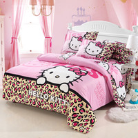 Wholesale Leopard Print Duvets - Wholesale- New style cartoon hello kitty leopard printed ppattern bedding sets twin full queen size duvet cover set bed sheet pillowcases