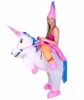 Wholesale Red Horse Riding - 2017 HOT Adult Halloween Costumes Inflatable Unicorn Costumes Ride on Sky Horse Air Blowing Up Clothes Funny Costumes