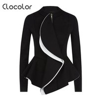 Wholesale working girls - Wholesale- Clocolor women blazer coat 2017 spring Black Tops girls blazer O Neck zipper work wear Long Sleeve peplum Women blazer