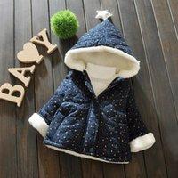 ingrosso giacca di pile di neonato-Cappottino in velluto per bebè puntinato stampato in pile spesso con cappuccio Cappuccio invernale in argento con stella per bambini 6M-3T