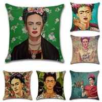 Wholesale Green Seating - Frida Kahlo Self-portrait Printed Pillow Case Cover Cotton Linen Home Decorative Sofa Throw Cushion Covers Seat Waist Pillowcases 45x45cm