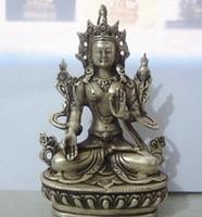 estatua de tara al por mayor-Tíbet budista plata blanca estatua de Buda Tara