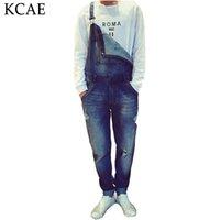 Wholesale Suspender Jumpsuit - Wholesale- Men's Bib Jeans 2016 New Casual Front Pockets Blue Denim Hole Overalls Boyfriend Jumpsuits Male Suspenders Jeans M-XXL