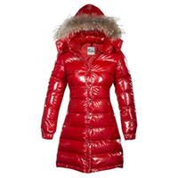 yüksek markalı giyim ceketi toptan satış-Kış Aşağı Ceket Ceket Kadınlar için Moda Marka Uzun Rakun Kürk İnce Kapşonlu Giyim Dış Giyim Kırmızı Artı Boyutu Yüksek Kalite