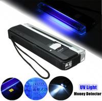 ultraviolett-fackeln großhandel-Schwarz Portable UV-Lampe 2in1 Blinkende Taschenlampe Blacklight UV-Licht Tube Bulb Handheld-Geld-Detektor Batteriebetriebene 6V