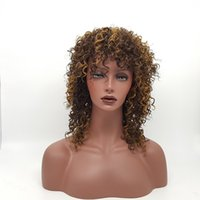 Wholesale Gold Lace Wig - XT924 Natural Brown Gold Fully Mixed Wig Deep Spiral Crimp Wig Heat Resistant 100% Fiber Density Crimp Synthetic Lace