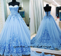 Wholesale hand bandages - 2018 Ball Gown Prom Dresses Sweetheart Appliques Tulle Backless Bandage Light Blue Evening Gowns Quinceanera Dresses Sweet 16 Dresses