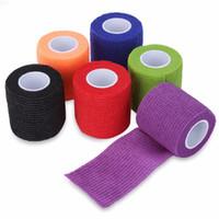 Wholesale Adhesive Elastic Bandage - Tattoo Accesories 12pcs 50mm Tattoo Self Adhesive Elastic 2 Inch Wide Grip Tapes Flexible Nonwoven Fabric Nail Sport Protection Bandages