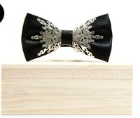 Bow Tie sport host - 2017 Men s bow tie black retro England gothic silver metal business dress groom groom dinner banquet wedding host