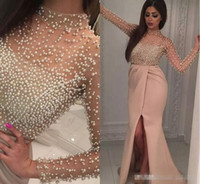 Wholesale High Fashion Pearl - Vintage Blush Split Evening Dresses with Long Sleeve 2017 Luxury Pearls Illusion Neck Middle East Arabic Yousef Aljasmi Prom Party Dress