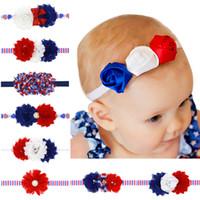 abd baş bandları toptan satış-2017 4 Temmuz Bağımsızlık Günü Kafa Perişan Çiçek Amerikan Bayrağı Saç Bantları Çocuklar Şifon Fırfırlı ABD Ulusal Bayrak saç Aksesuarları