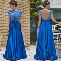Wholesale gold diamond prom dresses - Diamond Blue Sexy Backless 2017 A line Prom Dresses Scoop sleeveless with 3D-Floral Appliques Empire Satin Sweep Train Long prom dresses