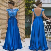 ingrosso il treno di diamante veste il treno-Diamond Blue Sexy Backless 2017 Una linea Prom Dresses Scoop senza maniche con applicazioni floreali 3D Impero Satin Sweep Train Abiti lunghi da ballo