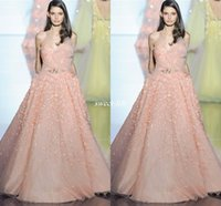 Wholesale Zuhair Murad Sheath Sweetheart - Zuhair Murad Blush Long Evening Dresses Ball Gown Sweetheart with 3D Flowers Lace Beads Sash Tulle Backless Pageant Gowns Long Prom Dresses
