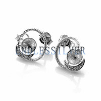 Wholesale pearl silver jewellery - Earring Settings Star and Moon Design 925 Sterling Silver DIY Mountings Jewellery Findings for Pearl Party
