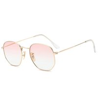 Wholesale Small Square Sunglasses - Polygon Clear Square Sunglasses Women Fashion Brand Design Lady Vintage Metal Small Frame Plain Sun Glasses UV400 YW039