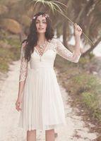 Wholesale Informal Elegant Wedding Dresses - Beach Short Wedding Dresses 3 4 Long Sleeves Sheer See-through Elegant Chiffon Bridal Gowns 2017 Lace-appliques Cheap Sexy Informal New