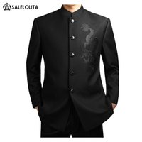 Wholesale Chinese Wedding Suits - Wholesale- Chinese style wedding suits set male black stand collar chinese tunic suit Plus Size S-3XL