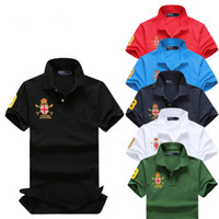 Wholesale Gold Pure Solid - Men's Shirts Tops 2017Summer fashion Style pure Cotton Tops Short Casual Slim Contrast Color Polo Men Shirts free shipping