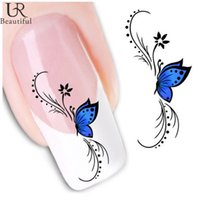 Wholesale Nail Art Foil Sheets - Wholesale- 1 sheet Water Transfer Nail Art Sticker Decal Blue Butterfly 3D Design Manicure Tips DIY Nail Foils Decorations #XF1439